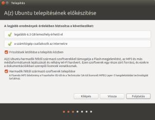 Az Ubuntu telepítésének előkészítése